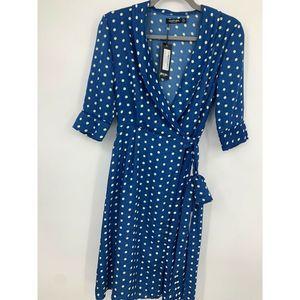 Nasty Gal dress 4 wrap midi tea blue polka dot NEW